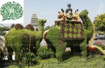 5A景区西安大雁塔骆驼绿雕案例