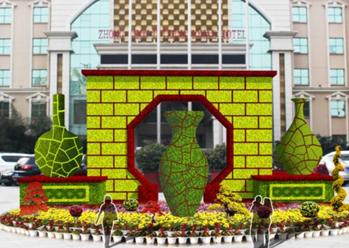 广场节日绿雕
