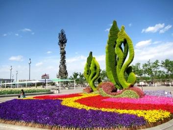 银川公园广场立体花坛